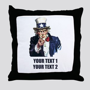 [Your text] Uncle Sam Throw Pillow